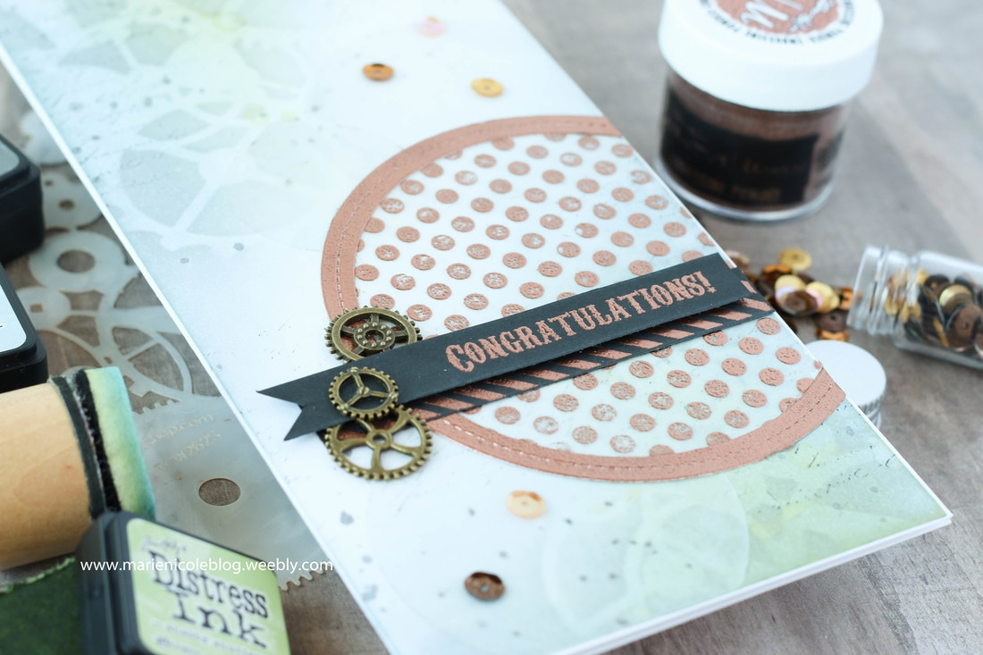 Long and skinny card base from Canvas Corp Brands. Love the gears background and that shiny Brutus Monroe Embossing Powder- Marie Nicole Designs